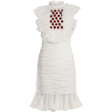 Giambattista Valli Embellished strawberry-appliqué ruched silk dress