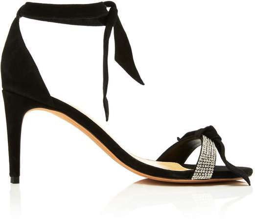Clarita Crystal and Bow-Embellished Suede Sandals