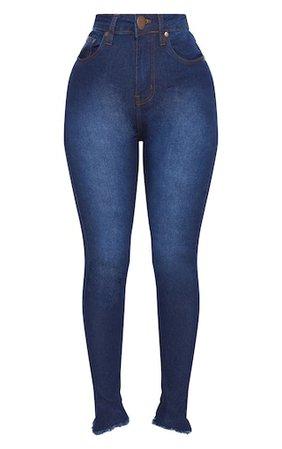 Shape Indigo High Waist Skinny Jeans | Curve | PrettyLittleThing USA