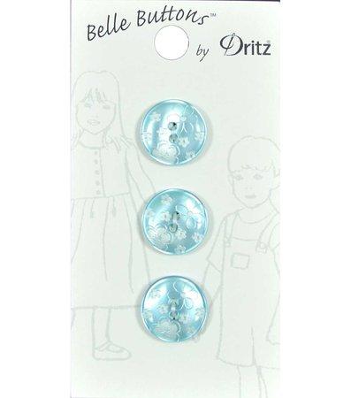 Belle Button- Juvenile Etched Flower Aqua 15Mm | JOANN