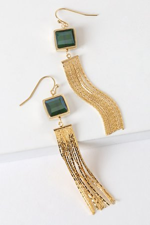 Gold Fringe Earrings - Statement Earrings - Fish Hook Earrings