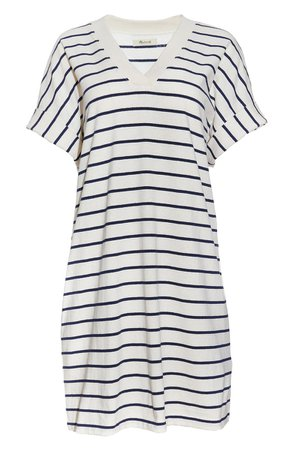 Madewell Indigo Stripe V-Neck T-Shirt Dress   Nordstrom