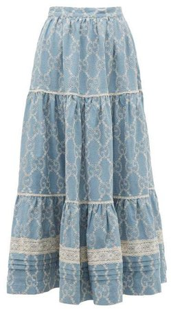 Tiered Gg Broderie Anglaise Cotton Skirt - Womens - Blue White