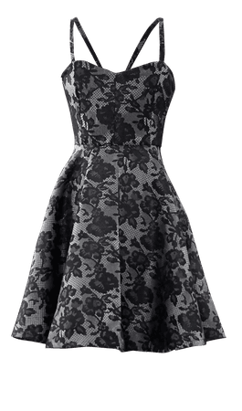 Grey + Black Lace Date-Night Dress