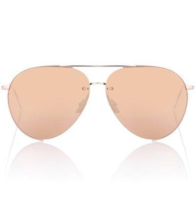 Gold-plated aviator sunglasses