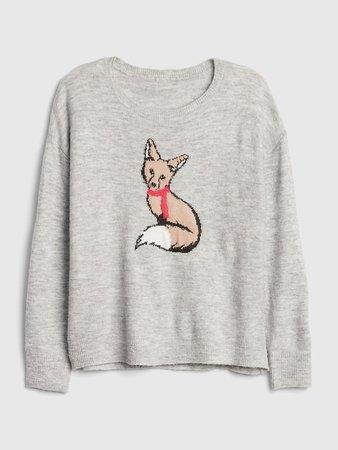 Fuzzy Intarsia Graphic Crewneck Sweater | Gap