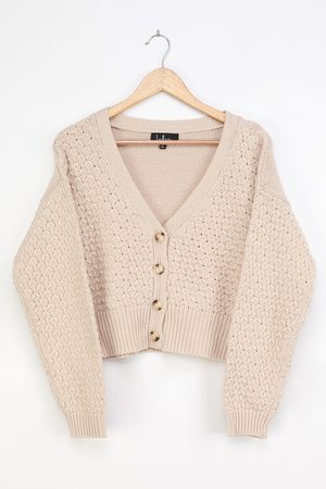 Beige Sweater - Cable Knit Cardigan - Cropped Cardigan Sweater - Lulus