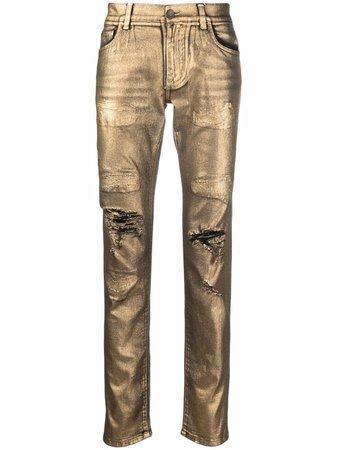 Dolce & Gabbana metallic-finish Distressed Trousers - Farfetch