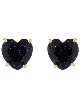 LA DIAMANTINE DEEP SPARKLING BLUE HEART STONE STUD EARRINGS