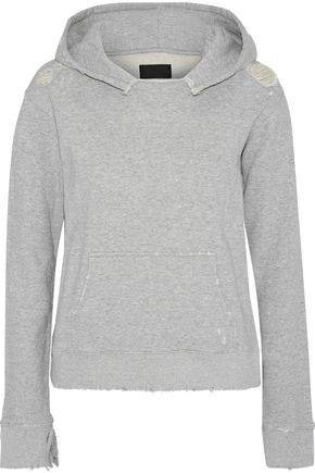 Distressed Melange French Cotton-terry Hoodie