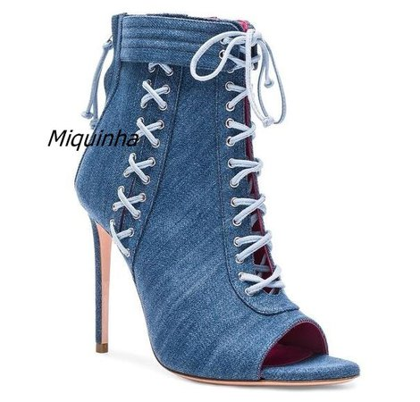 Trendy Design Blue Jean Lace Up Sandal Boots Pretty Open Toe Cross Strap Thin Heel Booties Denim Stiletto Heel Dress Shoes -in Ankle Boots from Shoes on Aliexpress.com | Alibaba Group