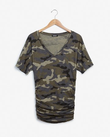 Camo Ruched Dolman Sleeve Tee | Express