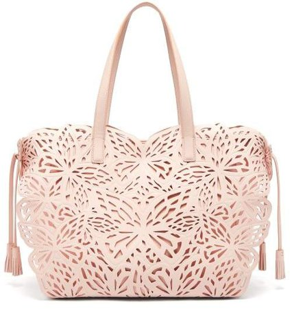 Liara Butterfly Leather Tote - Womens - Light Pink