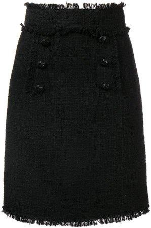 bouclé tweed frayed skirt