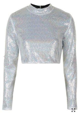 Silver Sequin Long Sleeve Crop Top by Jaded London