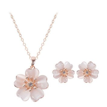 pink flowers earrings and necklaces - Google Search
