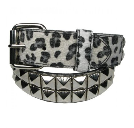 Punk'd Image - White 2 Row Silver Studded Leopard Belt