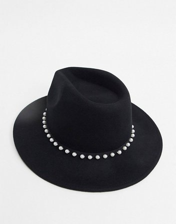 ASOS DESIGN felt panama hat with faux pearl trim and size adjuster in black | ASOS
