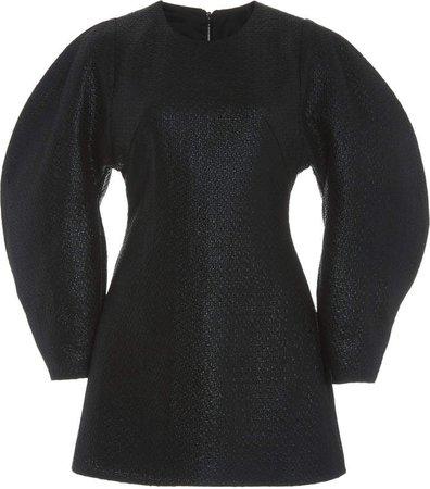 Kalmanovich Metallic Puff Sleeve Mini Dress
