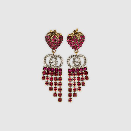 Undefined Undefined Strawberry earrings with crystals | GUCCI® US