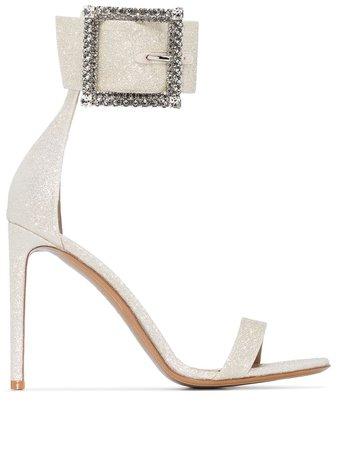 Alexandre Vauthier Yasmin 100Mm Glitter-Effect Sandals YASMINSANDAL Gold | Farfetch