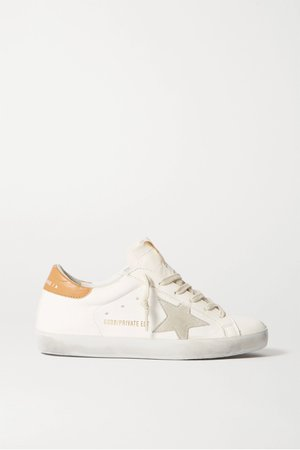 Off-white Superstar distressed leather sneakers | Golden Goose | NET-A-PORTER