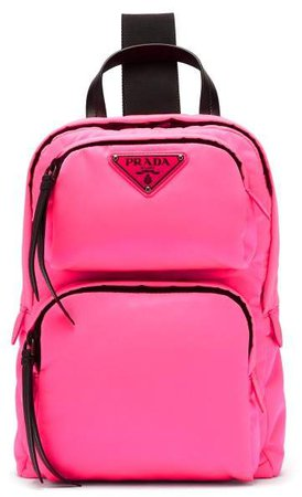 Leather Trimmed Nylon Backpack - Womens - Pink