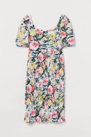 MAMA Smocked Dress - White