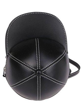 Black Leather Midi Cap Bag