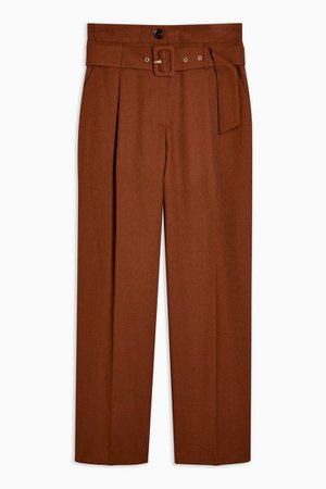 Brown High Waist Belted Peg Pants | Topshop