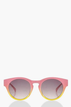 Pink Contrast Frame Round Sunglasses | Boohoo Pink
