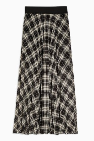 Black and White Check Pleated Maxi Skirt | Topshop