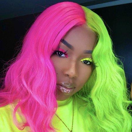 neon green hair half - Google Search