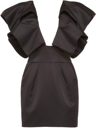 Plunge Ruffle Mini Dress