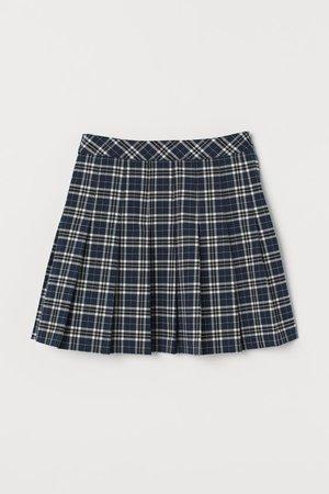 Pleated Skirt - Dark blue plaid - Ladies | H&M US