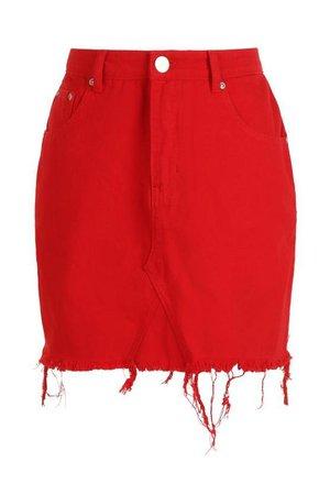 Red Denim Mini Skirt | Boohoo