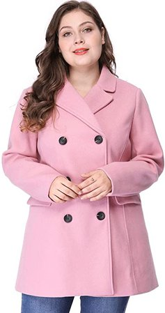 Notched Lapel Double Breasted Long Coat Pink