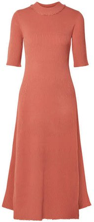 Frayed Ribbed-knit Midi Dress - Coral