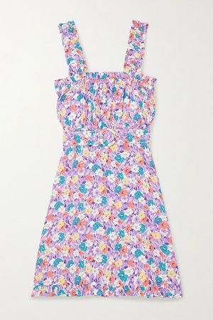 Lilac Mid Summer floral-print crepe mini dress | Faithfull The Brand | NET-A-PORTER