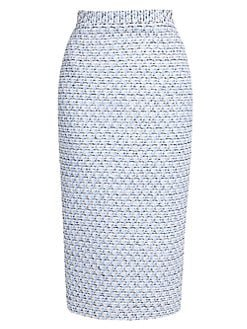Alessandra Rich Sequin Tweed Pencil Skirt