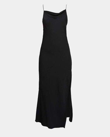 Silk Draped Back Maxi Dress