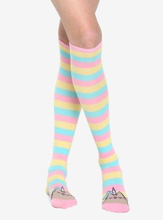Pusheen Pastel Pusheenicorn Striped Knee-High Socks