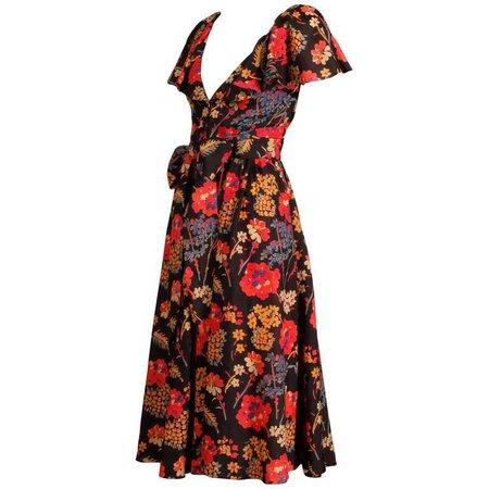 Oscar de La Renta Floral Print Flutter Sleeve Ruffled Silk Peasant Dress, 1970s For Sale at 1stdibs