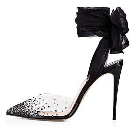 Amazon.com | FSJ Women High Heel Ankle Strap Sandals Pointed Toe Rivets Pumps PVC Club Shoes with Studs Size 8.5 Black | Heeled Sandals