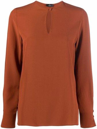 ETRO keyhole-neck silk blouse - FARFETCH