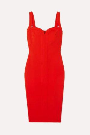 Paneled Cady Dress - Red