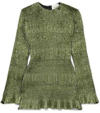Georgia Alice - Magic Shirred Lurex Mini Dress - Green