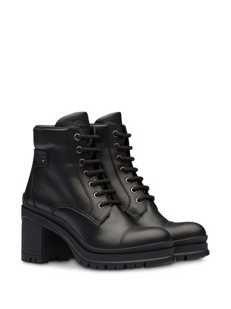 Prada lace-up chunky heel ankle boots - FARFETCH