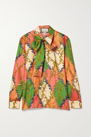 Orange Pussy-bow printed silk-twill blouse | Gucci | NET-A-PORTER