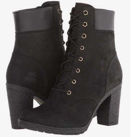 timberland glancy black heeled boots lace up lace-up ankle
